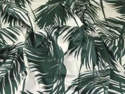 Tropical Leaves Print Cotton Lawn Dress Fabric  Green & Cream