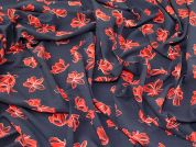 Floral Viscose Challis Fabric  Navy & Red