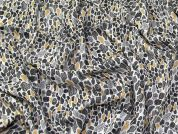 Viscose Challis Fabric  Black, Ivory & Gold
