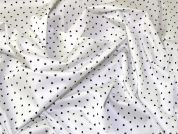 Stretch Cotton Sateen Fabric  Navy & Ivory