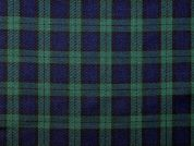 Woven Plaid Check Twill Suiting Dress Fabric  Navy & Bottle