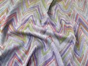 Chevron Print Wool Blend Heavy Coating Fabric  Multicoloured on Grey