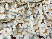 Dogs Print Soft Cotton Canvas Dress Fabric  Multicoloured
