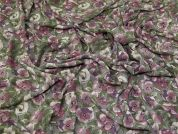 Smooth Crepe Fabric  Pink & Green