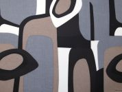 Geometric Vinyl PVC Coated Cotton Fabric  Brown & Grey