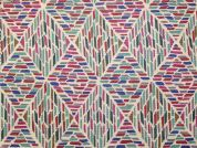 Geometric Print Vinyl PVC Coated Cotton Fabric  Multicoloured