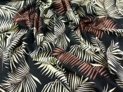 Large Leaf Print Combed Cotton Poplin Dress Fabric  Black, Brown & Cream