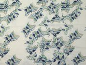 Butterfly Print Cotton Poplin Dress Fabric  Blue on Ivory