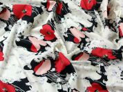 Poppy Floral Print Cotton Lawn Dress Fabric  Black, Red & Cream