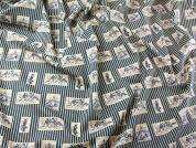 Horse Pictures on Stripe Cotton Lawn Dress Fabric  Beige & Navy Blue