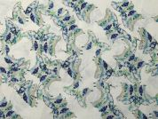 Butterfly Print Cotton Lawn Dress Fabric  Blue on Ivory