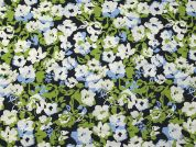 Floral Print Cotton Lawn Dress Fabric  Blue & Green