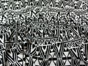 Aztec Stripe Stretch Double Jersey Dress Fabric  Black & White