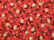 Floral Print Viscose Crepe Dress Fabric  Coral