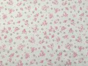 Truella Floral Print Brushed Soft Cotton Dress Fabric  Pink on Ivory