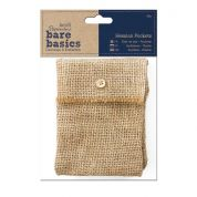 DoCrafts Bare Basics Hessian Fabric Pockets  Natural