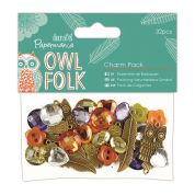 DoCrafts Owl Folk Charm Pack  Orange & Turquoise