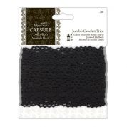 DoCrafts Midnight Blush Jumbo Crochet Trimming 2m  Black