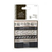 DoCrafts Midnight Blush Co-Ordinating Ribbons 1m  Black & White