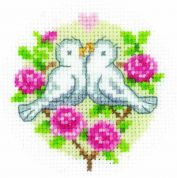 Vervaco Counted Cross Stitch Kit Cards Love Birds