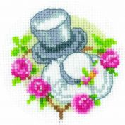 Vervaco Counted Cross Stitch Kit Cards Wedding Hats