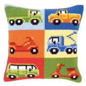 Vervaco Cross Stitch Cushion Kit Vehicles 1