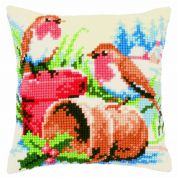 Vervaco Cross Stitch Cushion Kit Robins