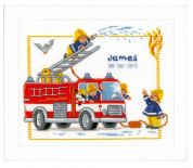 Vervaco Counted Cross Stitch Kit Birth Record Fire Engine