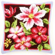 Vervaco Cross Stitch Kit Cushion Kit Pink Clematis