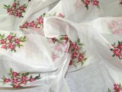 Hand Painted Organza Fabric  Ivory, Pink & Green