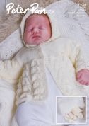 Peter Pan Baby Matinee Coat, Bonnet, Mittens, Booties & Shawl Knitting Pattern 1054  DK