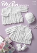 Peter Pan Baby Matinee Coats, Bonnet & Mittens Knitting Pattern 1065  2 Ply, 3 Ply