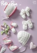 Peter Pan Baby Bonnets, Mittens & Booties Knitting Pattern 1067  DK