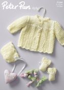 Peter Pan Baby Matinee Coat, Bonnet & Mittens Knitting Pattern 1068  4 Ply