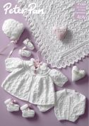 Peter Pan Baby Premature Matinee Coat, Cardigan, Bonnet, Booties, Mittens & Shawl Knitting Pattern 1069  4 Ply