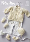 Peter Pan Baby Premature Matinee Coat, Bonnet, Booties & Mittens Knitting Pattern 1070  4 Ply, DK