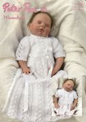 Peter Pan Baby Christening Dress & Wrap Top Moondust Knitting Pattern 1106  DK