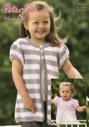 Peter Pan Girls Cardigans Moondust Knitting Pattern 1107  DK