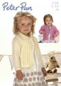 Peter Pan Girls Cardigans Knitting Pattern 1135  DK