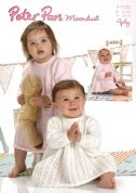 Peter Pan Baby Dress, Matinee Coat & Bonnet Moondust Knitting Pattern 1138  4 Ply