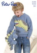 Peter Pan Boys Dinosaur Sweater & Toy Knitting Pattern 1146  DK
