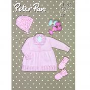 Peter Pan Baby Matinee Coat, Bonnet & Mittens Knitting Pattern 1153  DK