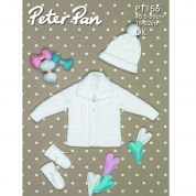 Peter Pan Baby Jacket, Hat & Mittens Knitting Pattern 1156  DK