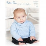 Peter Pan Baby Sweater & Hat Merino Baby Knitting Pattern 1160  DK