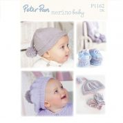 Peter Pan Baby Hats, Scarf, Mittens & Booties Merino Baby Knitting Pattern 1162  DK