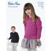 Peter Pan Childrens Cardigan & Sweater Moondust Knitting Pattern 1168  DK