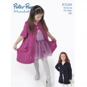 Peter Pan Girls Cardigans Moondust Knitting Pattern 1169  DK