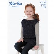 Peter Pan Girls Sleeveless Top Moondust Knitting Pattern 1170  DK