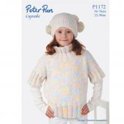 Peter Pan Girls Sweater & Hat Cupcake Knitting Pattern 1172  DK