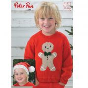 Peter Pan Childrens Christmas Sweater & Hat Knitting Pattern 1173  DK